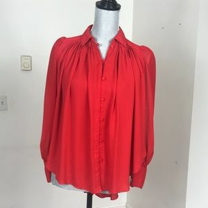 AMARYLLIS BUTTON UP BLOUSE IN RED SIZE XS/S